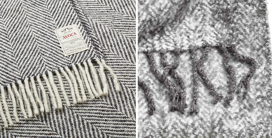 Avoca Heavy Herringbone Wool Throw   Splashing the cash?  John Lewis stock the gorgeous Avoca wool throw, in luxury Herringbone. £115   Herringbone Patterned Blanket   On a budget?  Check out H&M's herringbone patterned blanket. £34.99