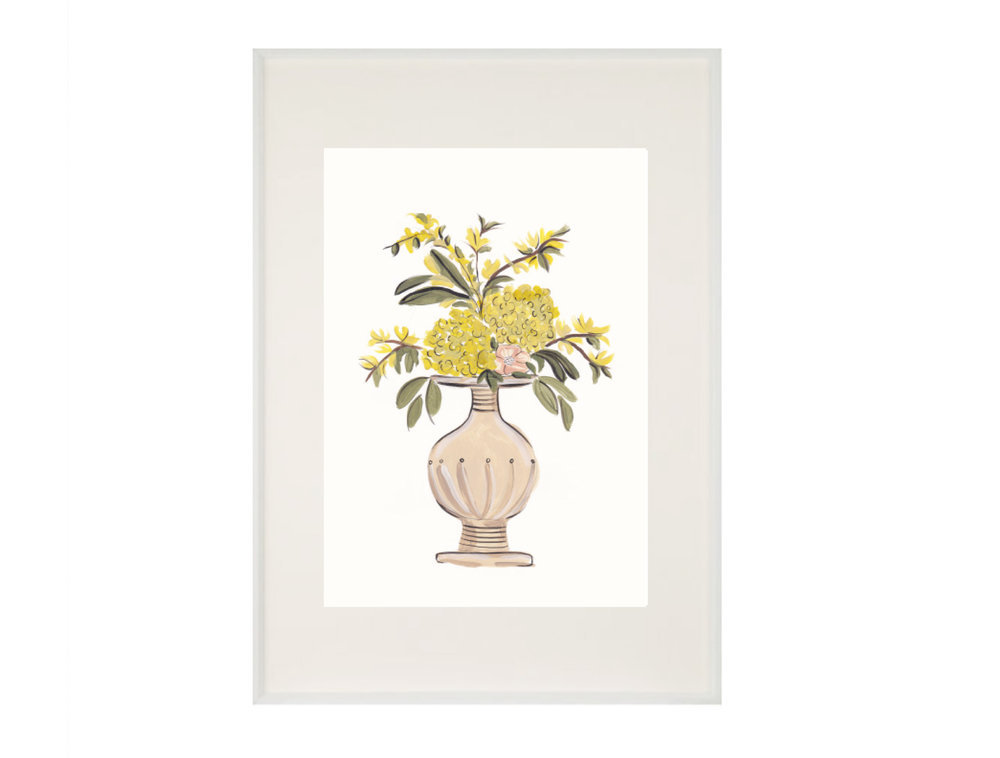 Yellow Floral Vase A4 Wall Art Print £16