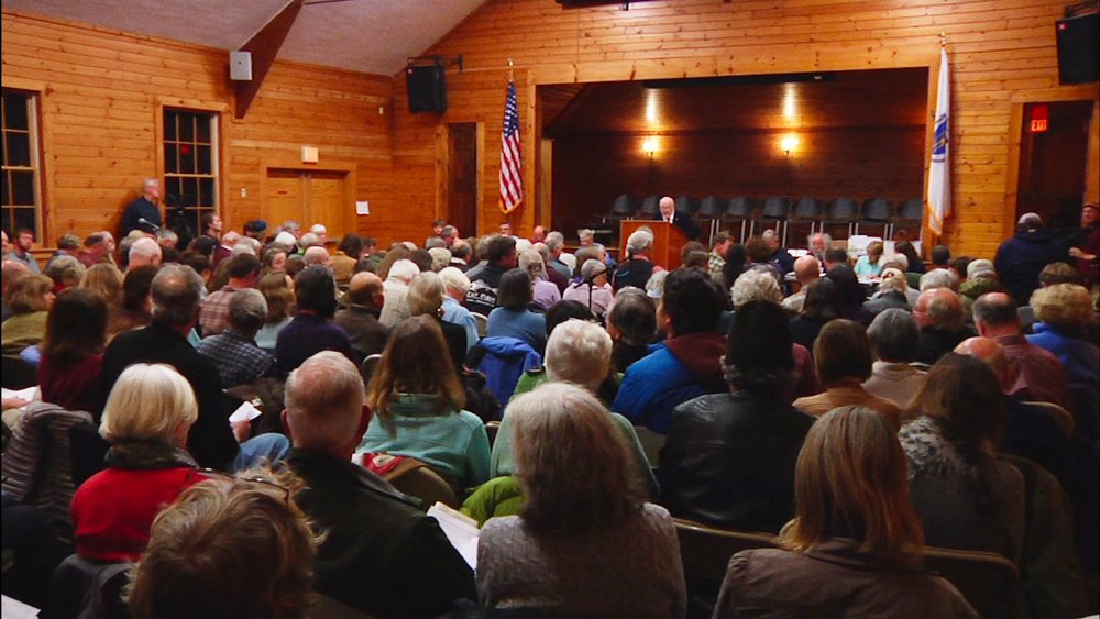Chilmark's annual town meeting, where residents voted on a large-house bylaw on April 22, 2013