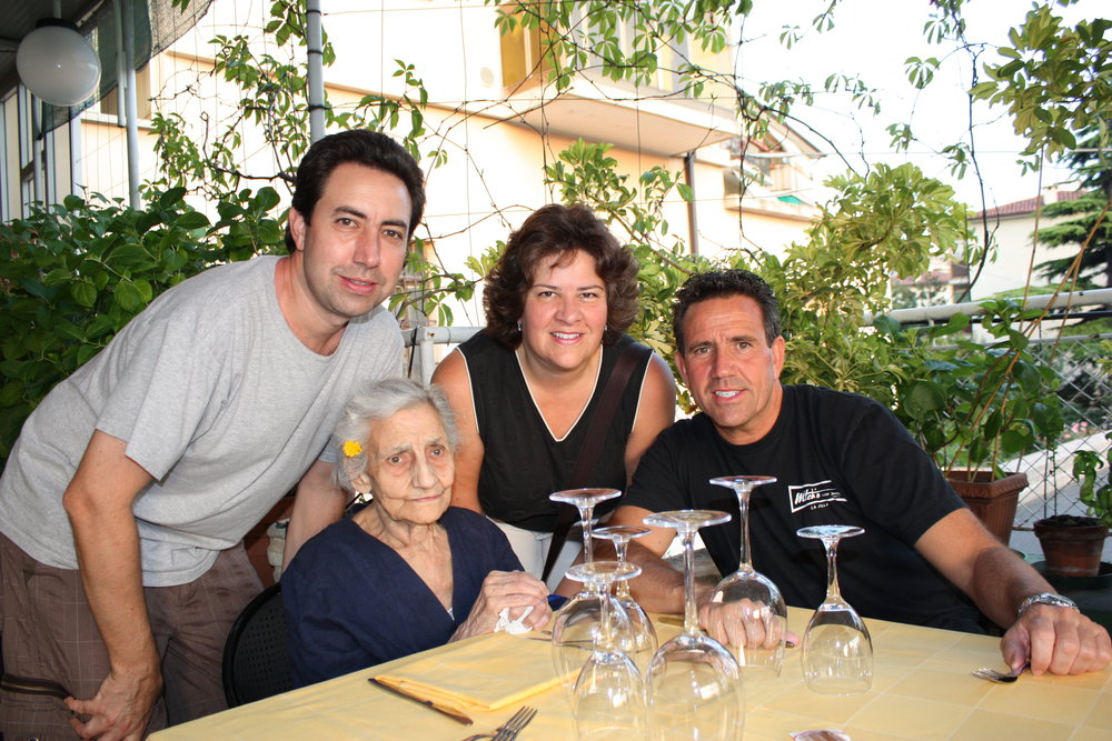 Eating al fresco in Trieste with our Aunt Rachele -- 101 years young