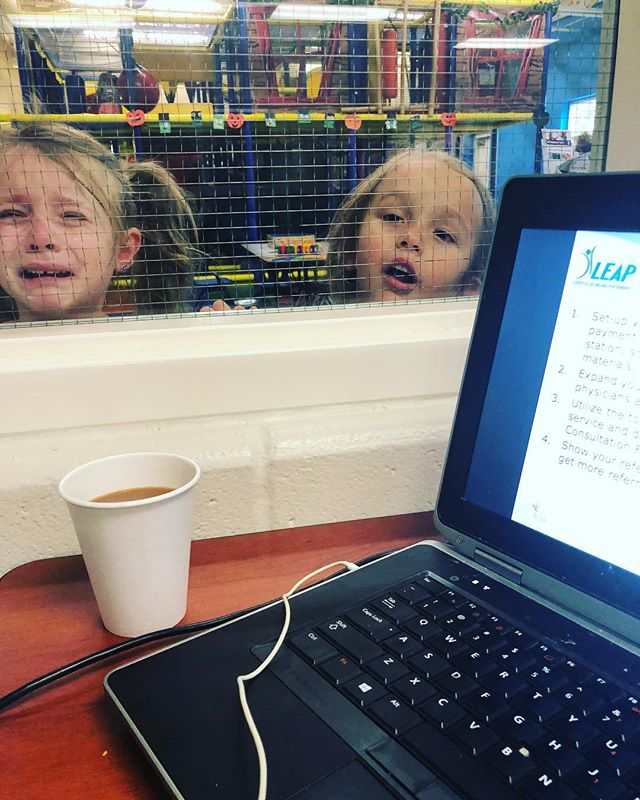 "Me: ""I'll just take the kids to the gym to play so I can get some work done."" My kids: 🖕🏻 🖕🏻 #amostcertifiedleaptherapist #ineedananny #orineedtostopsleeping"