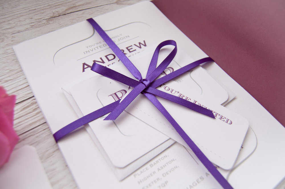 Hand tied invitation close-up