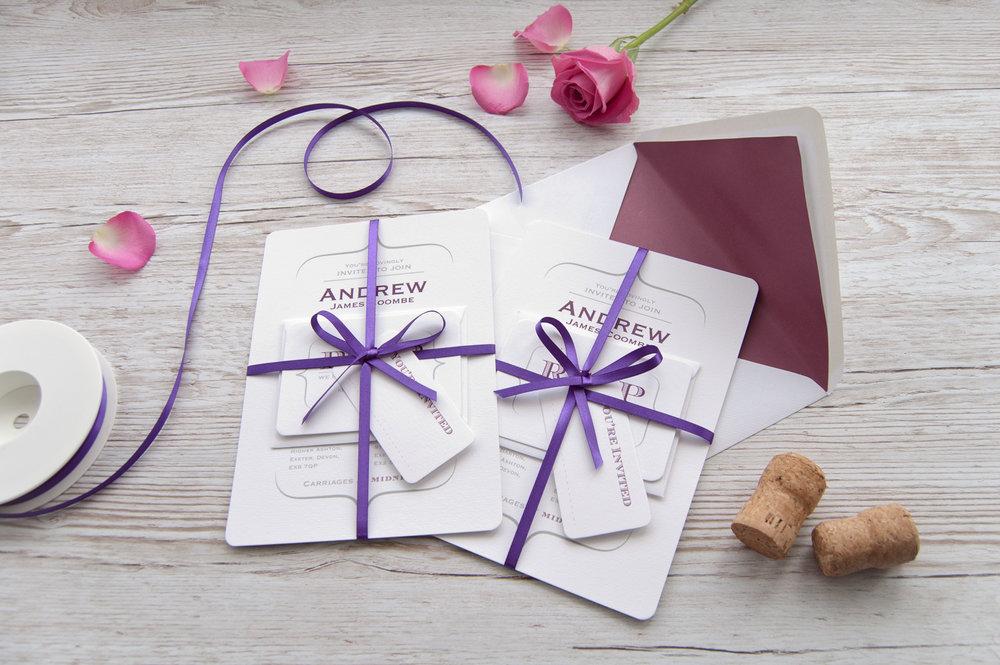 Hand tied invitation set