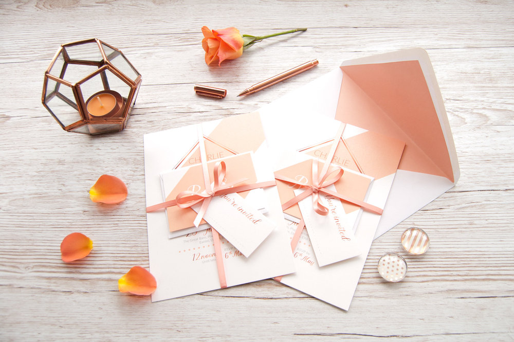 Hand tied invitation set