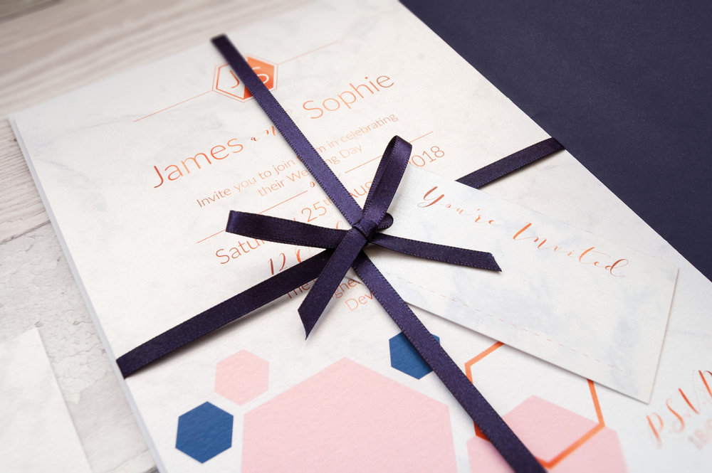 Hand tied invitation close-up