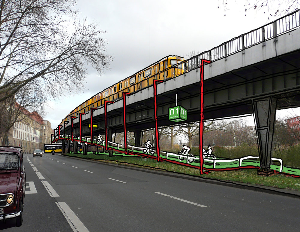 Team Radbahn have suggested building cycling bridges as a radical way of crossing traffic intersections.Image Source