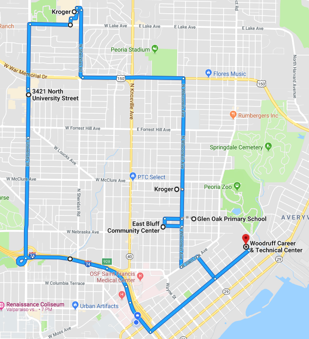 East Bluff route