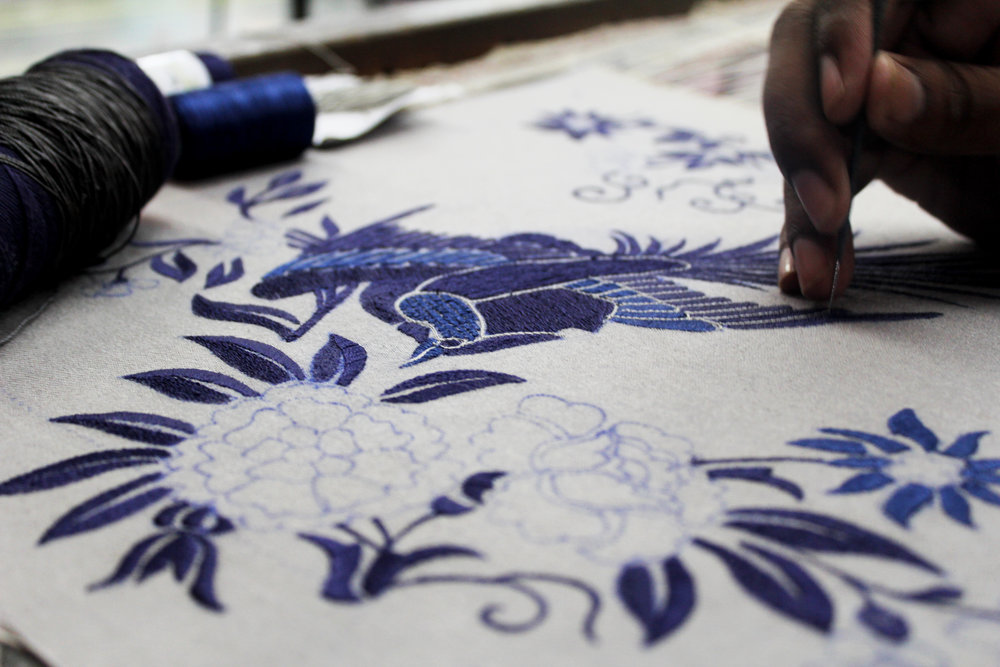 The intricacies of filling in embroideries, stitch-by-stitch.