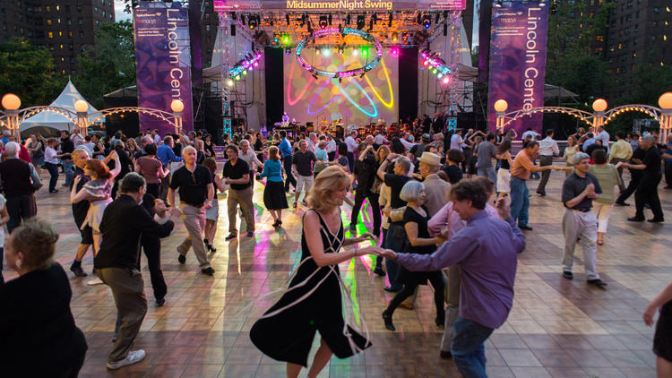 Midsummer night swing - Midsummer Night Swing brings together the best of music, free outdoor dance events and things to do outside in New York, but we have a few tips to help you make the most of the festival. Lovely Damrosch Park can get crowded, so be sure to book in advance, get there when the dance floor opens at 6pm, and remember that purses and backpacks must be left at the bagcheck—ladies, you'll need a dancing frock with pockets.When: Midsummer Night Swing begins Tuesday, June 27, 2017 and ends Saturday, July 15, 2017. For three weeks this summer, group dance lessons kick off at 6:30–7:15pm, so if you already know your bolero from your barrida, get there closer to 7:30pm once the live music begins.