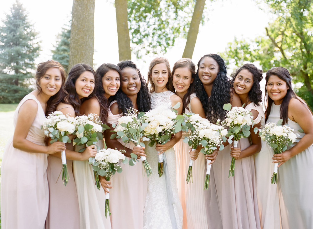 Neutral bridesmaids dress
