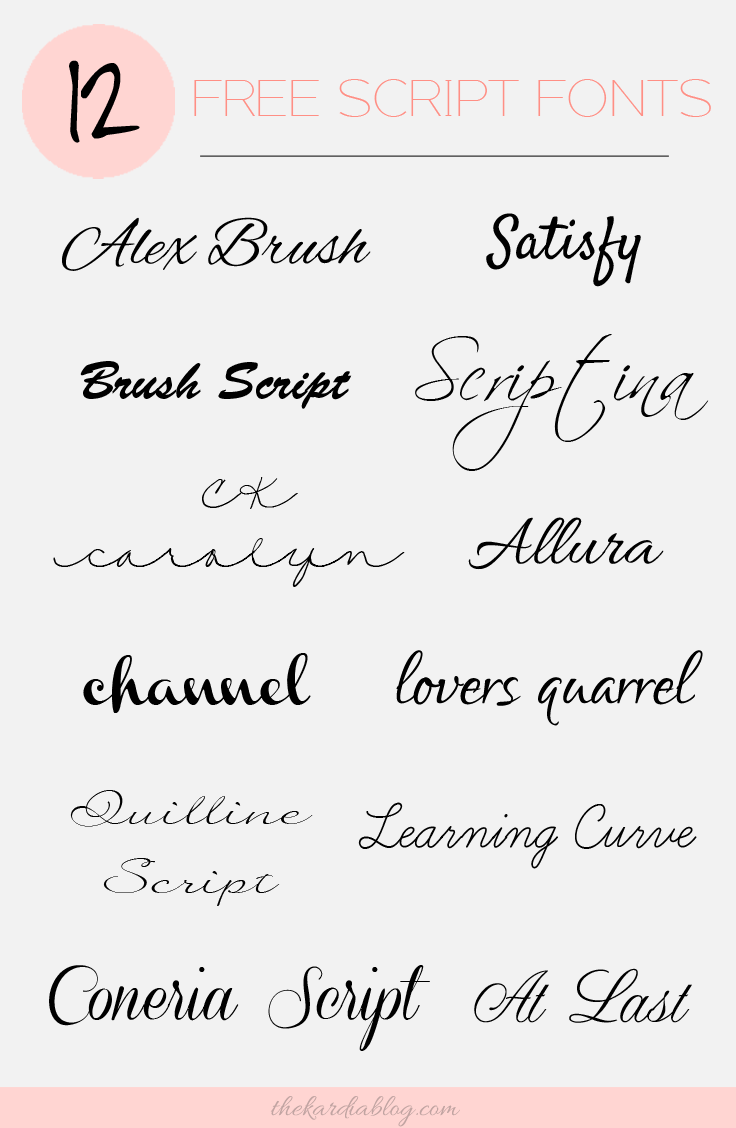 12 Free Script Fonts | The Kardia Blog