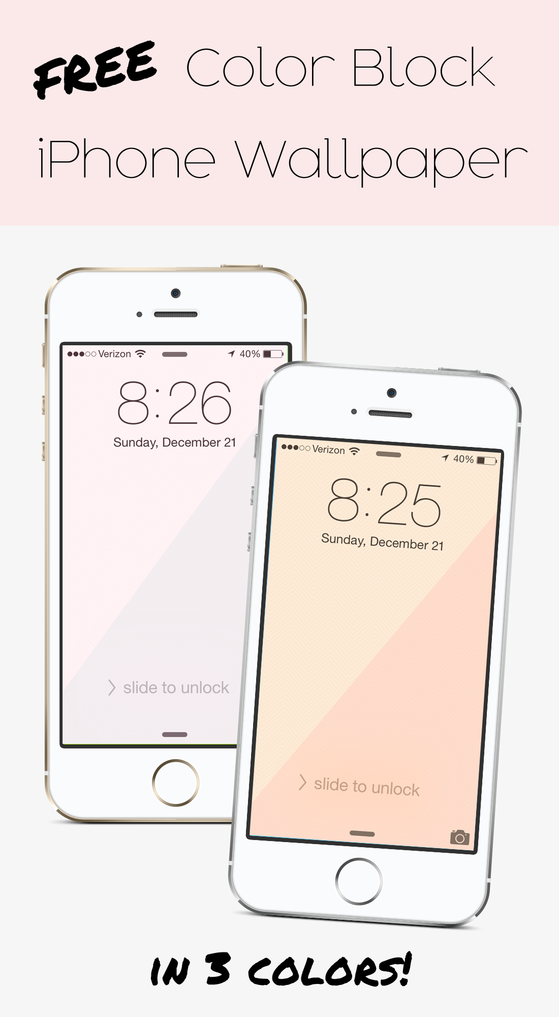 Free color block iPhone wallpapers in 3 different colors