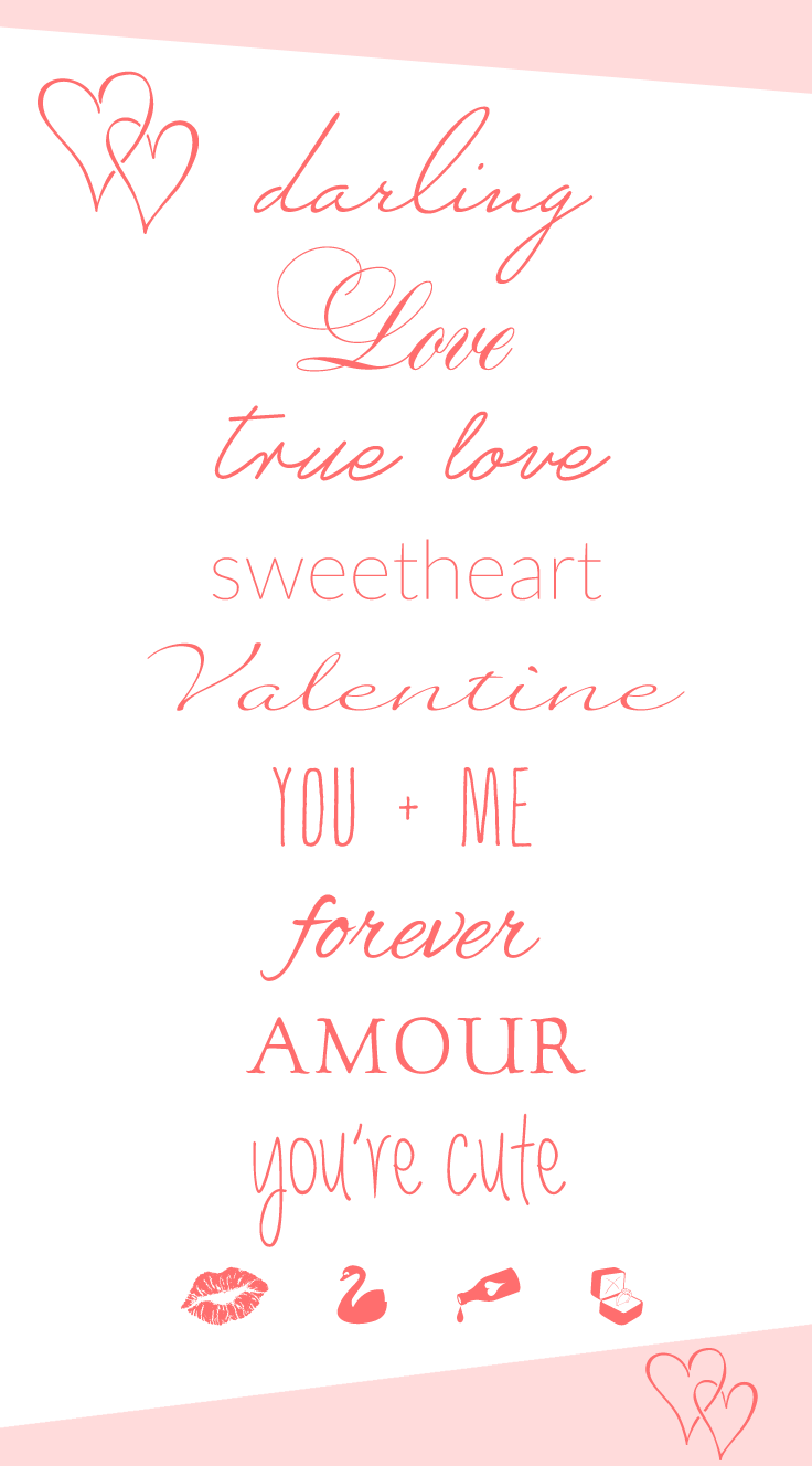 The most romantic free fonts to use for special occasions, Valentine's Day, weddings, or simply for sweet love notes.