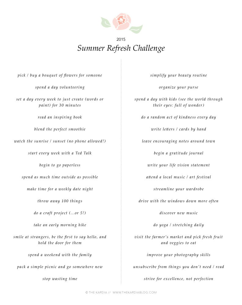 Join the #SummerRefreshChallenge! FREE goal sheets and ideas to help you live authentically.
