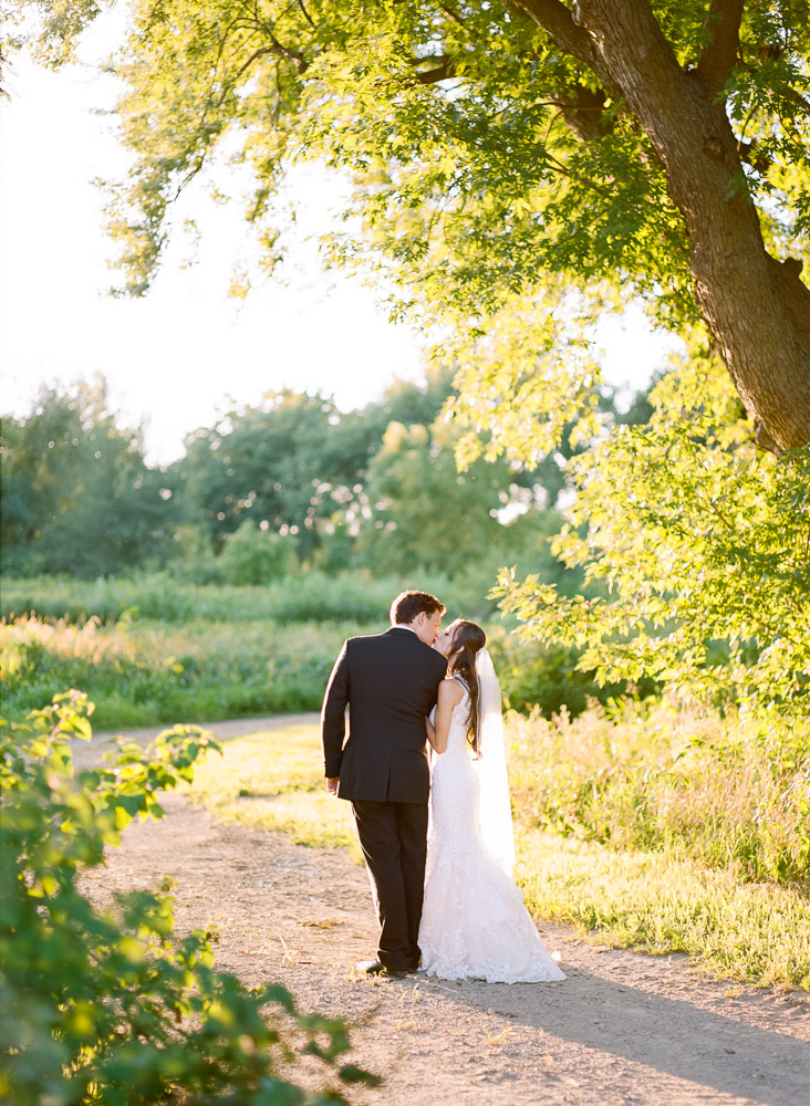 Garden wedding | Bride and Groom portraits at sunset