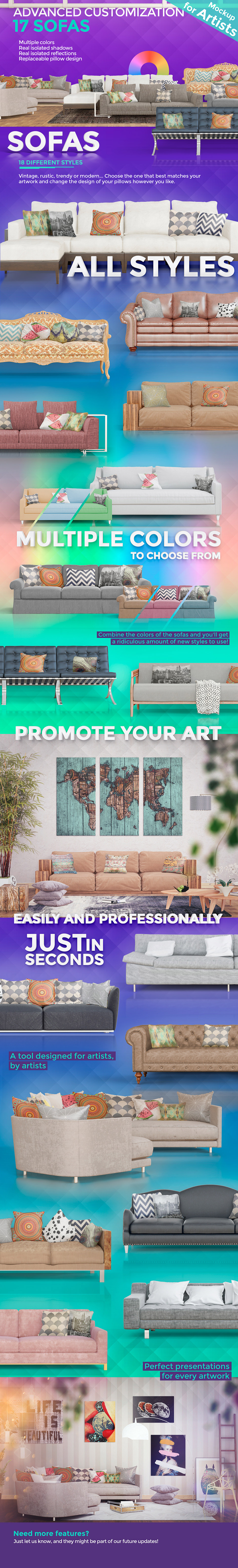 Pro Mockup psd for artists - 17 Sofas and 18 different styles