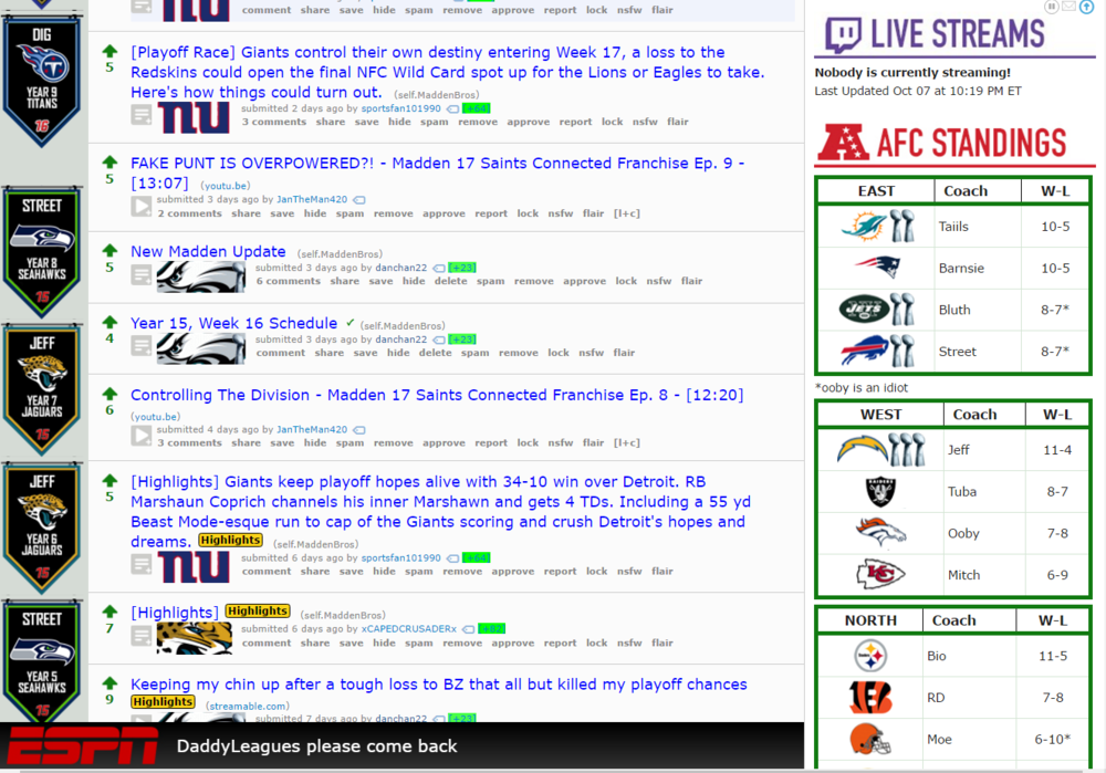 The Madden Bros subreddit.