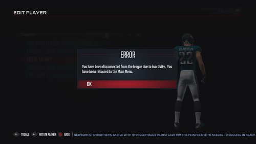 It takes over an hour to edit a player's contract in Madden 17