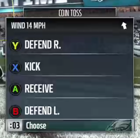 The wind choice screen before overtime