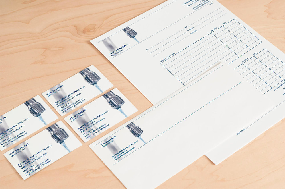 Business cards, envelopes and invoices for Stephen Brown, Master Plumber | Design by  ChrisAndAndy.com