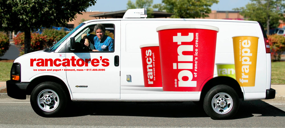 Large graphics for Rancatore's Ice cream delivery van. | Design by ChrisAndAndy.com