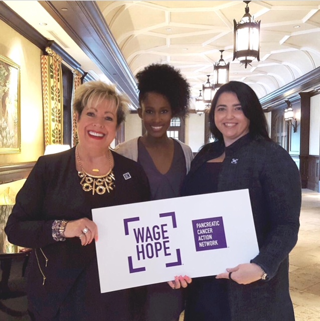 Declare Hope founder Jacie Scott was a featured speaker at the 2017 Pancreatic Cancer Action Network - Dallas' Leadership Breakfast.     Pictured here with Scott: Pancreatic Cancer Action Network founder Pamela Acosta Marquardt and chief medical officer Victoria Manax Rutson.