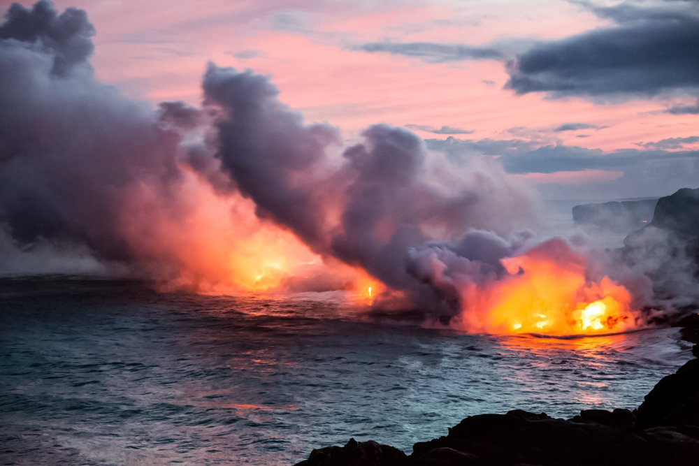 Lava enters the ocean in Hawaii