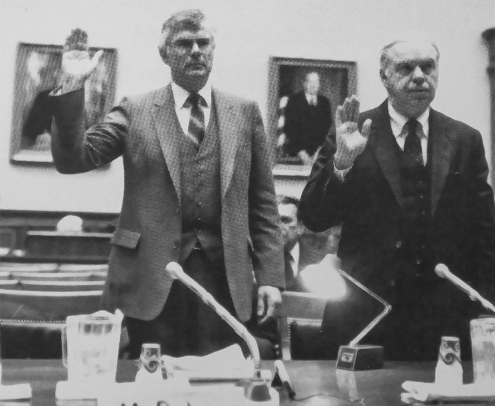 Gerry Balcar (co-founder, left), Chief Marketing Officer and John Manley, President and Chief Operating Officer, both of Potters Industries, being sworn in to testify before the Subcommittee on Investigations and Oversight of the House Committee on Transportation and Infrastructure in 1981. This was follow-on testimony to the programs enacted by the Highway Safety Act of 1973.