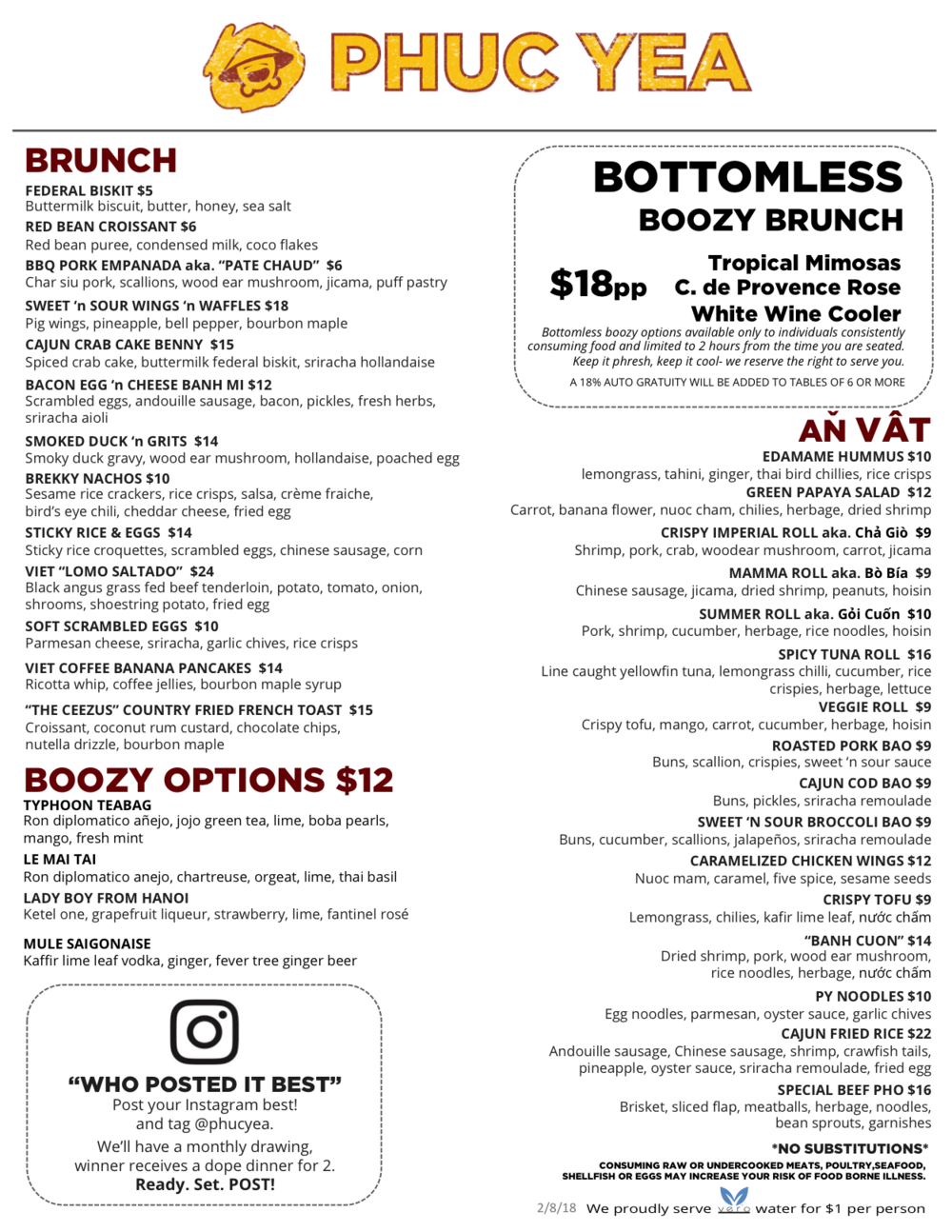 Brunch Menu 08.01.18 - Subject to change based on availability.