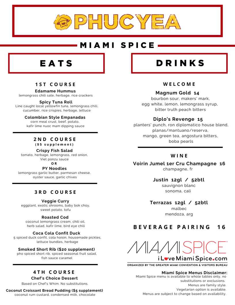 Miami Spice Menu 08.08.18 - Subject to change based on availability.