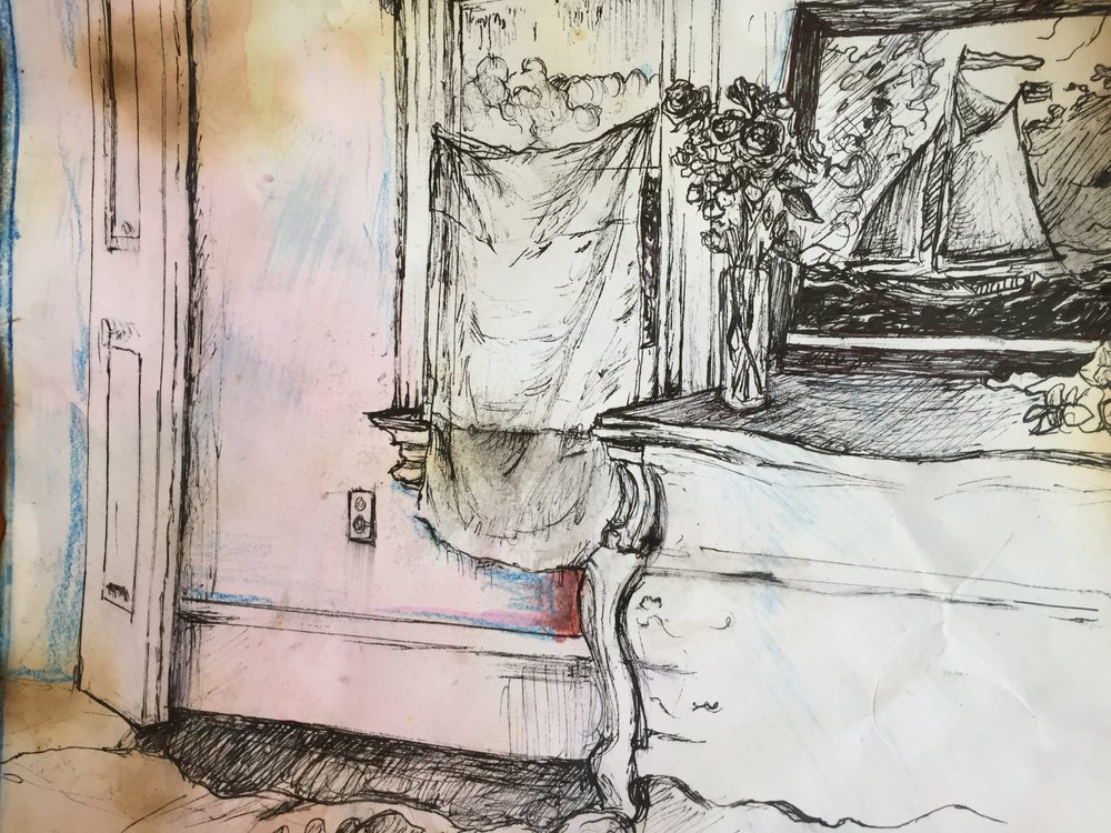 Safe In My Room, Archival Pen, Crayon, Fire 14/11""