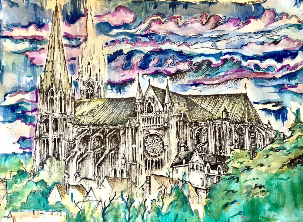 St Chartres Cathedral, Archival ink Pen and Watercolor 11/17""