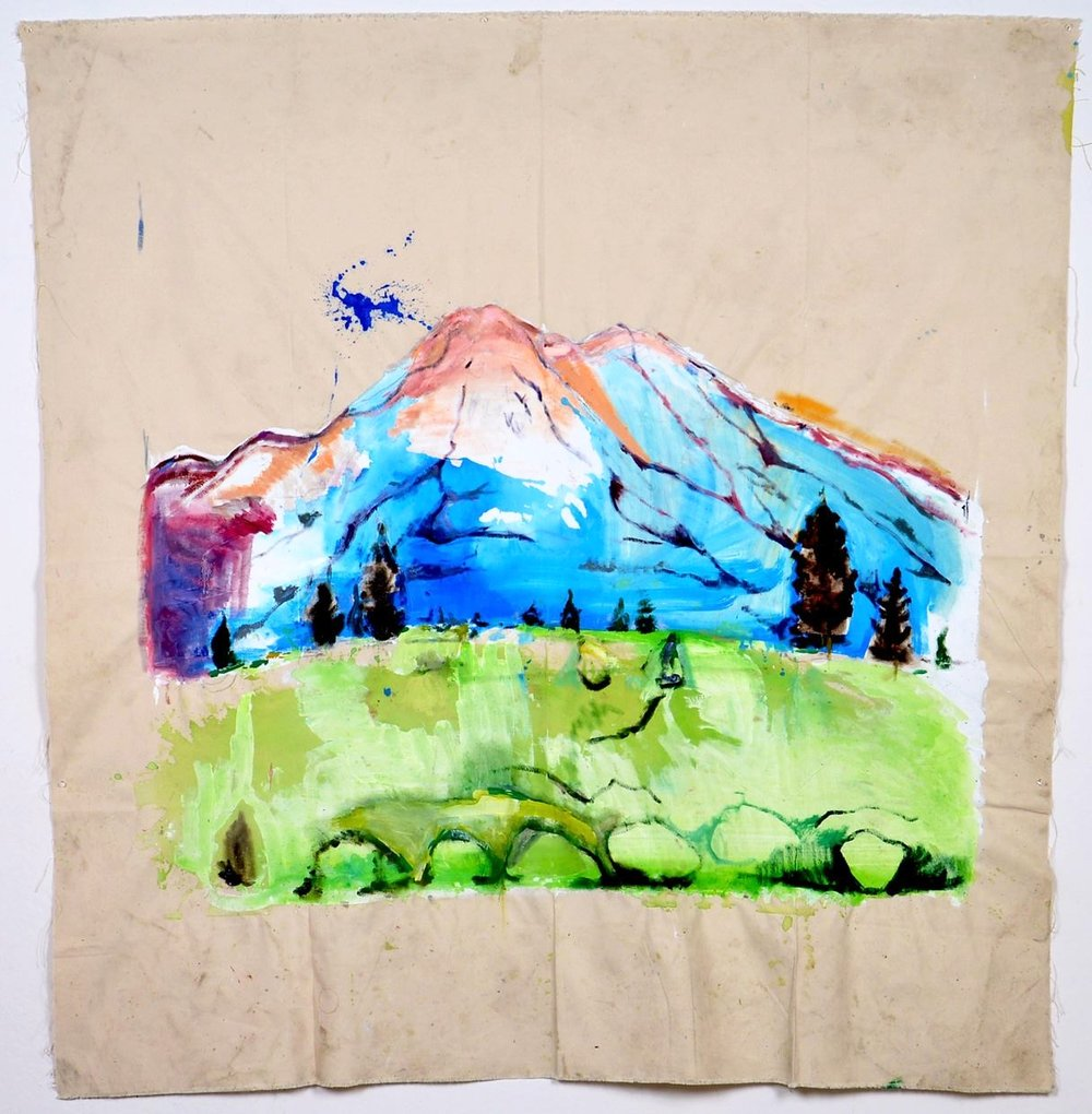Mount Shasta Before the Drought, Oil on Ink on Canvas