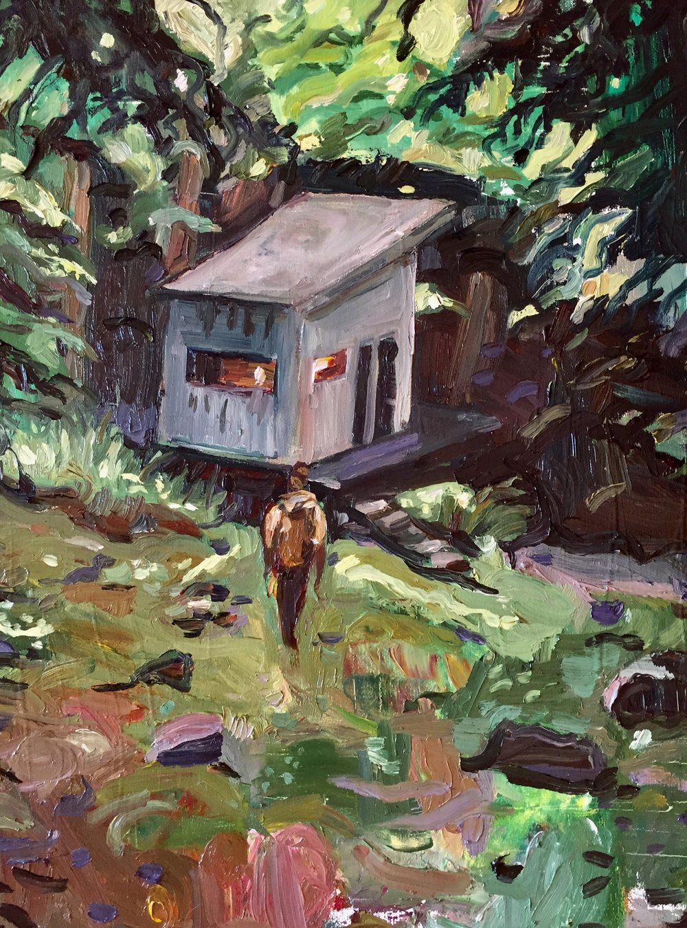 North Face Jacket, Damp Getaway, Oil on Canvas, 16/24""