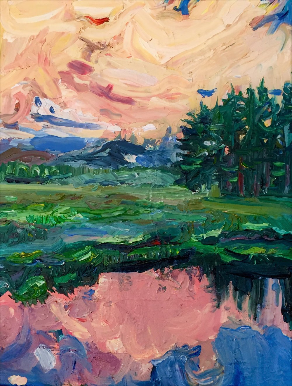 Tuoloumne Meadows, Oil on Canvas, 16/24""