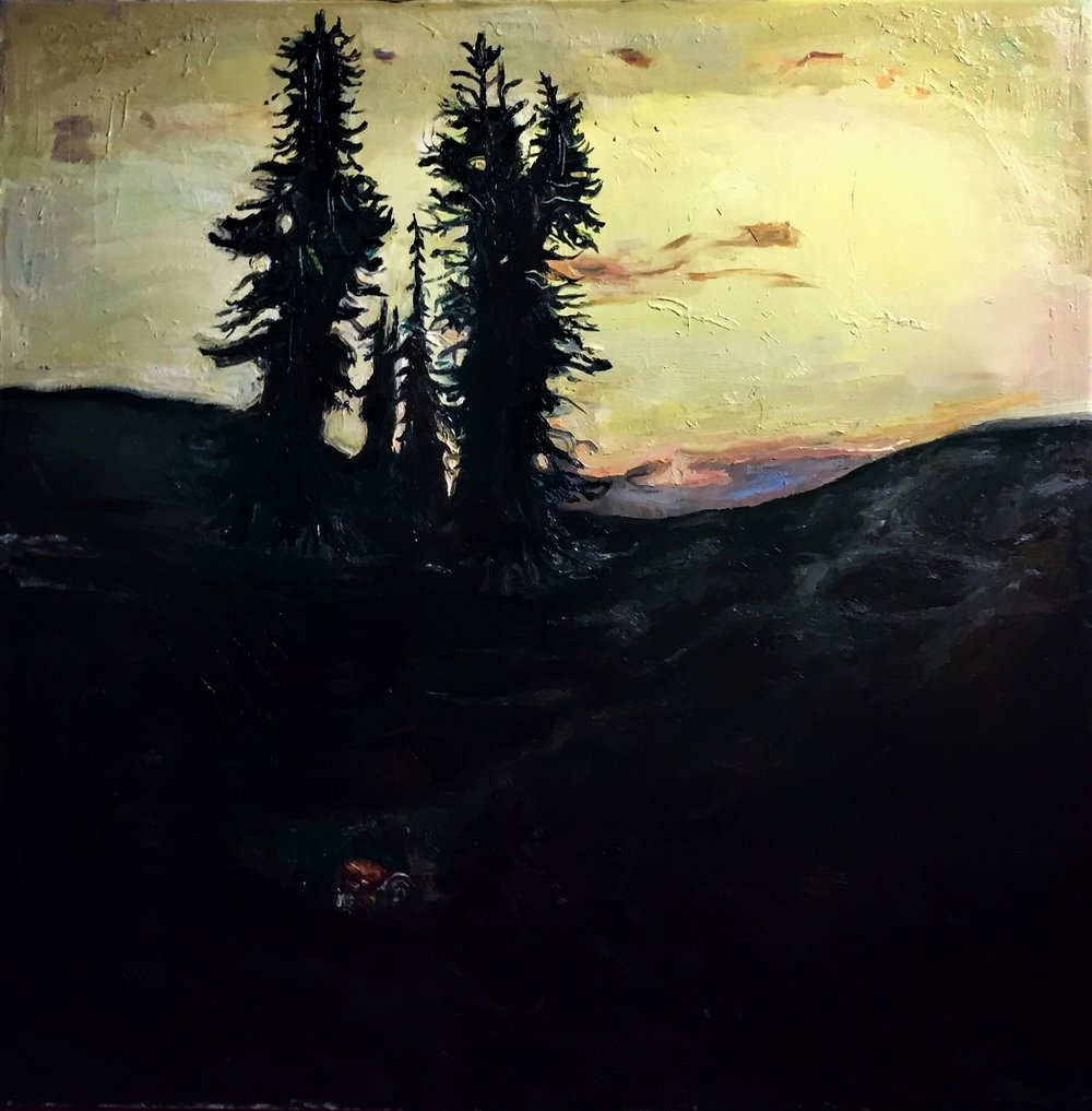 Beneath the Fir Trees is Evidence that We Were Here, Oil on Canvas, 48/48""