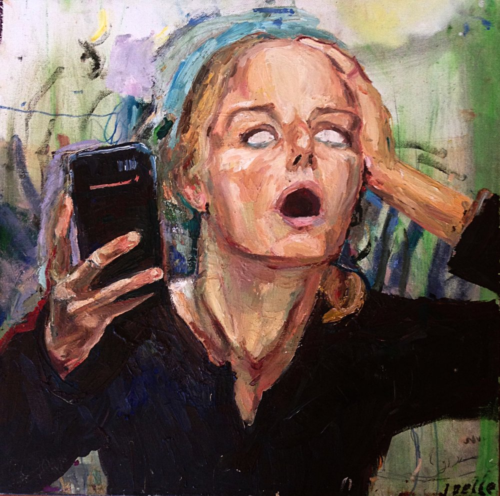 """Self Portrait From the Vantage Point of a Mirror in the Sky Looking Down at the Horror of the World, Oil on Canvas, 30/30"""""""