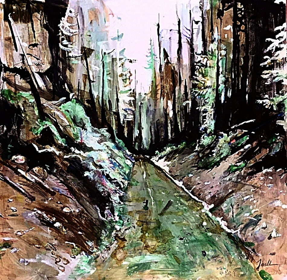 """Old Logging Road in White Mountain, Archival Ink and Pen on Canvas, 30/30"""""""