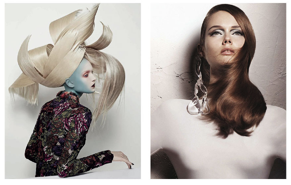 Left:  Vogue Italia  Hair & Style  with Maja Salamon - Right: Vogue Nippon Beauty,  Beyond White,  with Jac Jagaciak