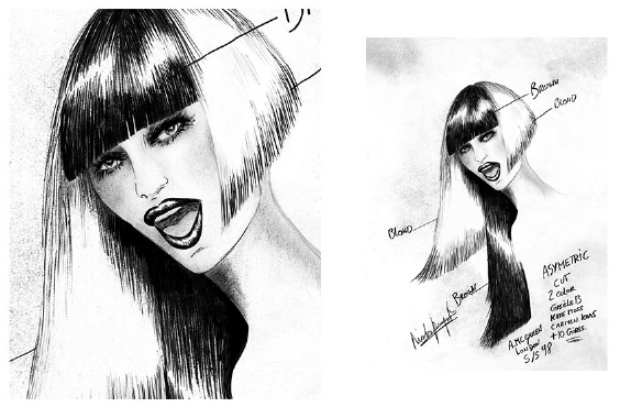 In The Hair Illustrations by Nicolas Jurnjack    for Alexander McQueen Fashion Show1998