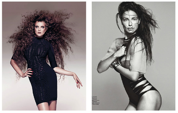 Left: Eniko Mihalik for Harper's Bazaar-  Right: Adriana Lima for Harper's Bazaar