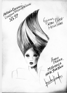 Nicolas Jurnjack hairstylist, Illustration for hair for Alexander McQueen Fashion Show