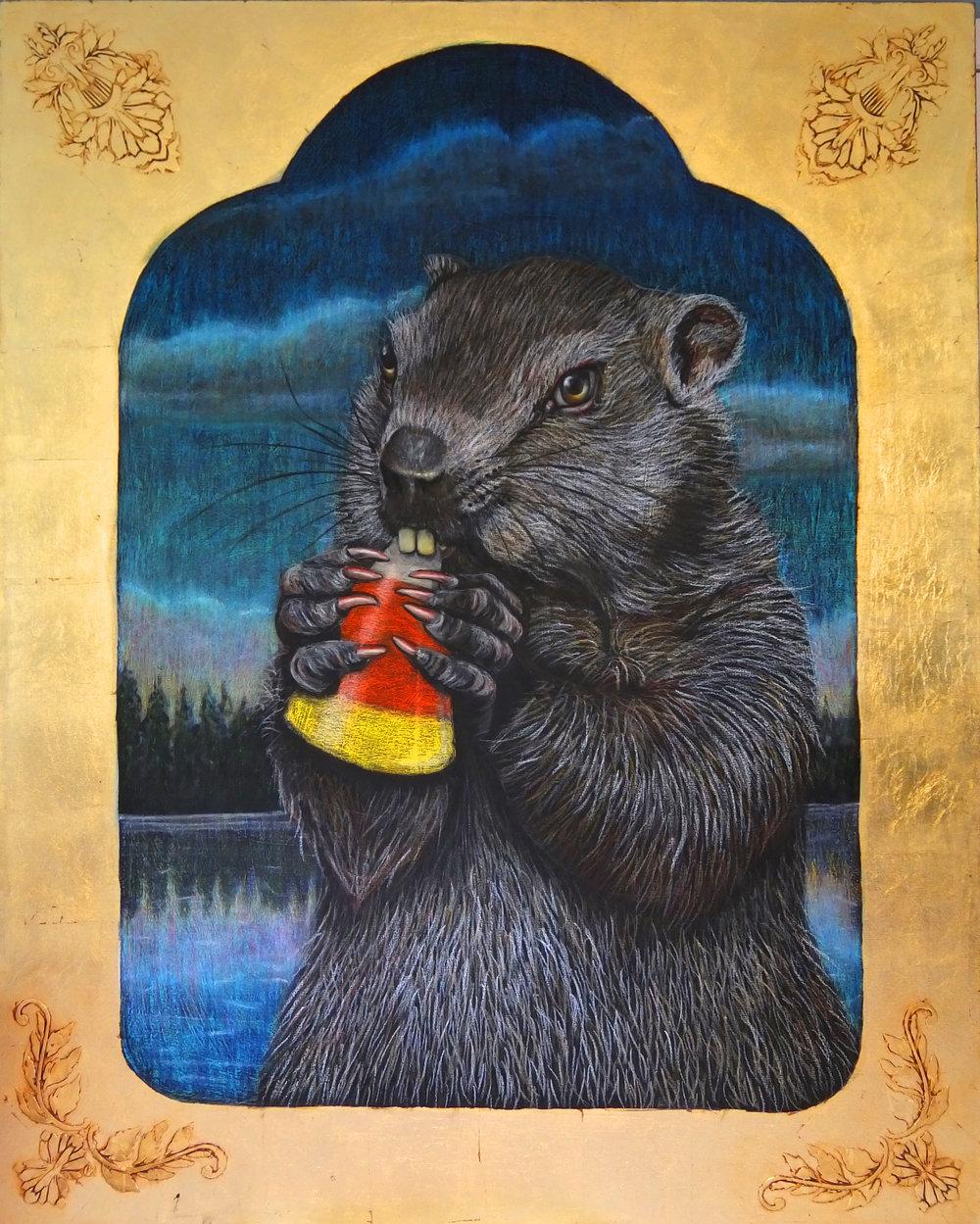 Beaver Eating Candy Corn
