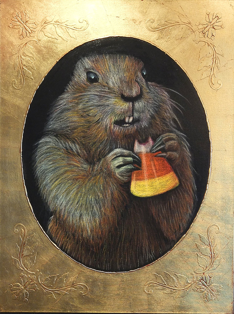 Ground Hog Eating Candy Corn