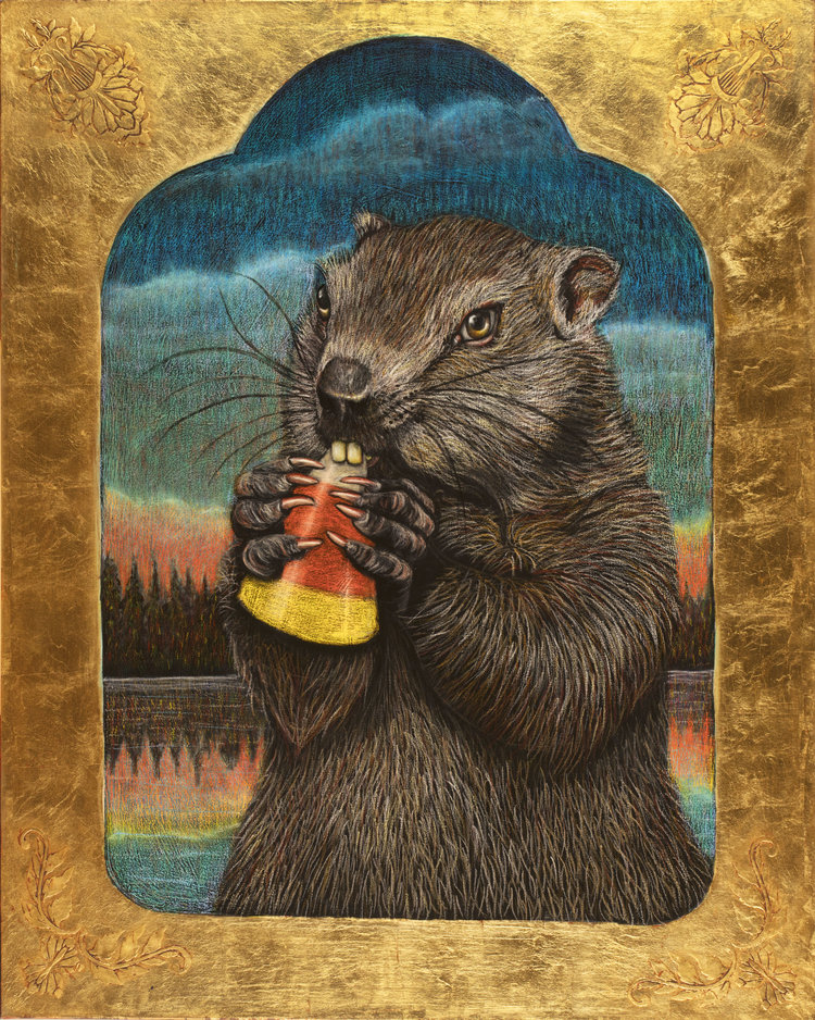 Beaver with Candy Corn