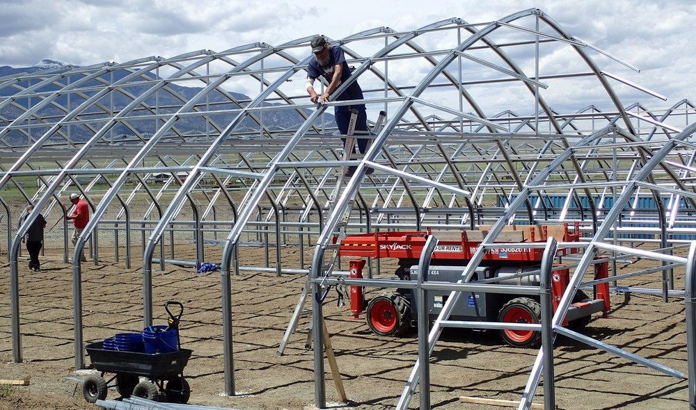 CannaGrow Holdings Production Manager, Jason Wells, installing girts between steel arches that form the roof of the Ranger Series 2000 Greenhouse.