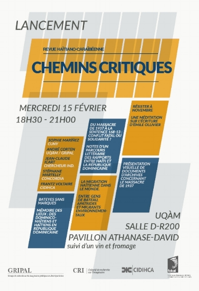 Announcement for the launch of the Montreal-based Chemins Critiques journal issue featuring a special section on the 1937 massacre. Source:  Gripal