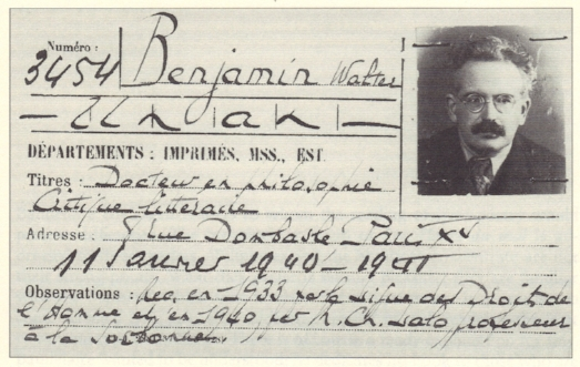 Walter Benjamin's membership card for the  Bibliothèque nationale de France  (1940). Photo: Unknown-Bibliothèque nationale de France. Source: Wikipedia.