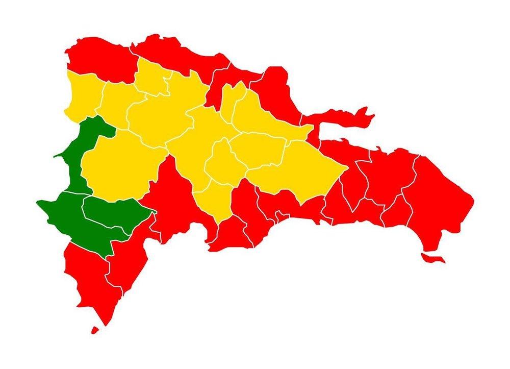 Provincias en alerta roja o amarilla.