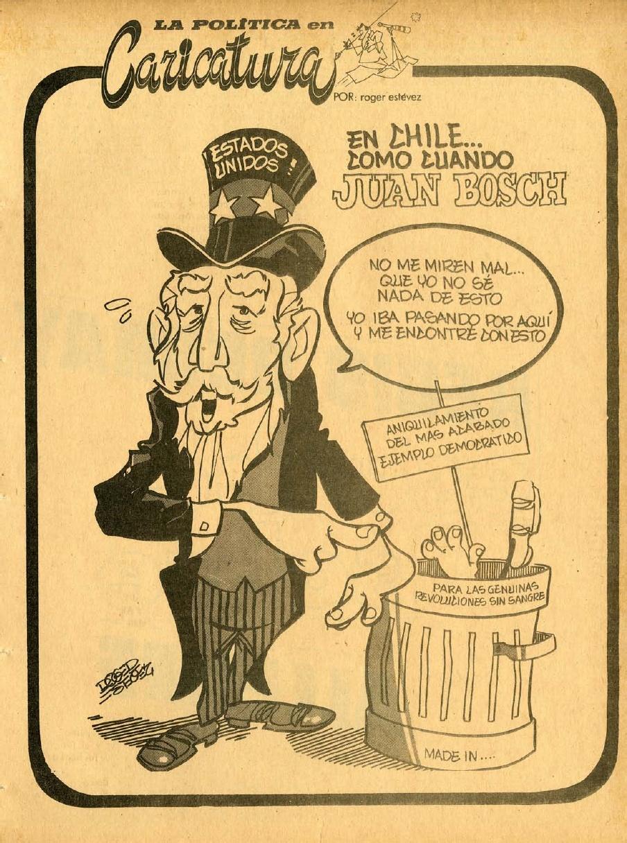 Caricatura de Roger Estévez. Revista ¡Ahora! No.515, 24 de septiembre de 1973. Fuente: SCRIBD | Lorenzo Paulino
